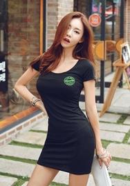 1区韩国服装网店代理一件代发iampretty-PTOP00919378-休闲舒适修身短袖连衣裙