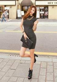 1区韩国服装网店代理一件代发iampretty-PTOP00919377-修身半高领气质连衣裙