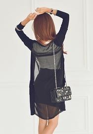 1区韩国服装网店代理一件代发iampretty-PTCA00919373-自然气质薄款百搭长开襟衫