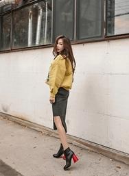 1区2017冬季新款韩国服装iampretty品牌复古开叉不规则中裙(2017.11月)