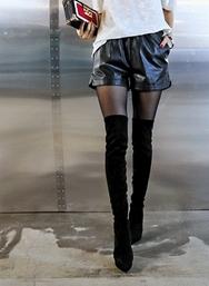 1区2017冬季新款韩国服装iampretty品牌简约皮质宽松短裤(2017.12月)