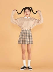 2018新款韩国服装icecream12品牌休闲舒适百搭格子短裙(2018.1月)