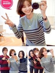 1区韩国代购正品验证imvely-MRKN00831458-流行魅力韩版条纹针织衫(制作商品)