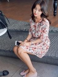 1区韩国代购货源|韩国官网正品imvely-MROP00887566-淑女魅力印花连衣裙