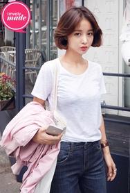 1区韩国服装网店代理一件代发imvely-MRTS00932003-韩版百搭圆领基本T恤(制作商品)