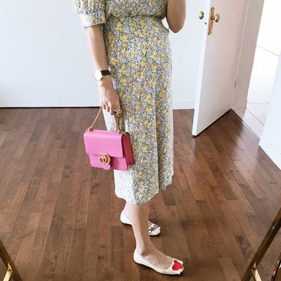 1区韩国本土服装代购(韩国圆通直发)Imvely-时尚风格花纹长裙(2018-04-25上架)