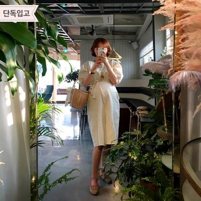 1区韩国本土服装代购(韩国圆通直发)Imvely-韩版亚麻系带连衣裙(2018-05-09上架)