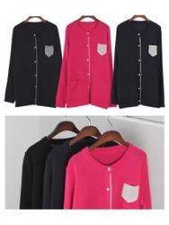 1区韩国代购正品验证ippiya-IPCA00831518-明朗配色衣袋可爱开襟衫