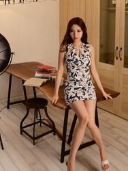 1区韩国代购货源|韩国官网正品jungmadam-JMOP00880185-性感漏洞修身花纹连衣裙(制作商品)