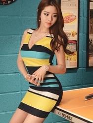 1区韩国代购货源|韩国官网正品jungmadam-JMOP00880833-性感深V领拼色条纹连衣裙(制作商品)