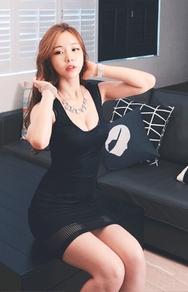 1区韩国服装网店代理一件代发jungmadam-JMOP00916113-性感低领修身网格连衣裙(制作商品)