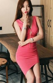 1区韩国服装网店代理一件代发jungmadam-JMOP00917574-性感v领不规则修身连衣裙(制作商品)
