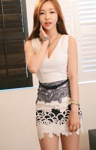 1区韩国服装网店代理一件代发jungmadam-JMOP00918889-性感v领修身配色连衣裙(制作商品)