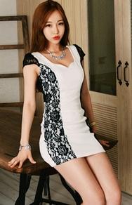 1区韩国服装网店代理一件代发jungmadam-JMOP00918886-性感蕾丝花纹配色修身连衣裙