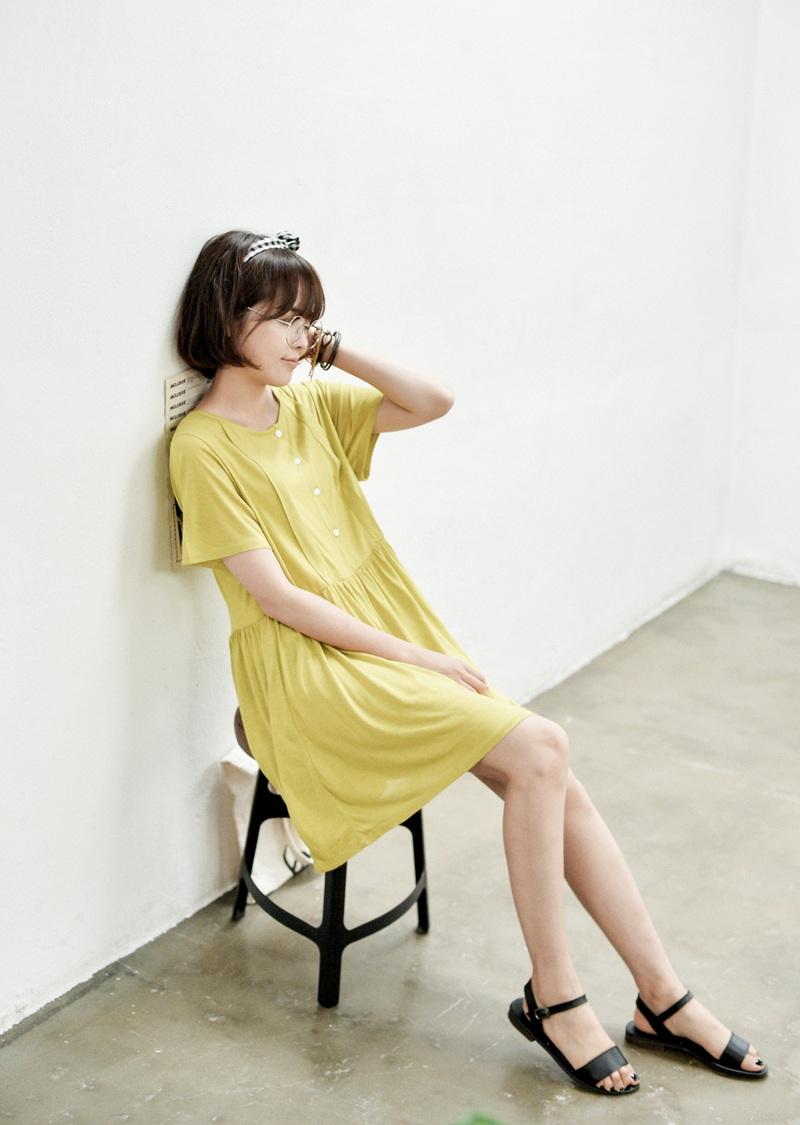 欧美少女色�_justone-欧美简约单排扣连衣裙/颜色:橄榄色2014年