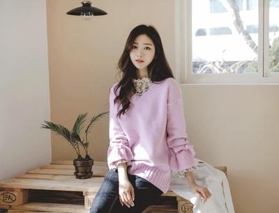 justone-简单韩版魅力纯色针织衫