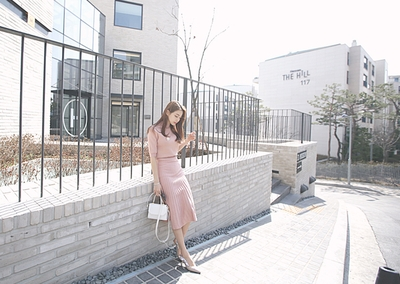 kongstyle-复古混色针织衫裙子套装