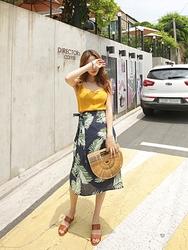 kongstyle-韩国复古系带配色韩国代购长裙女装2017年06月21日06月款