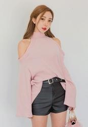 2018新款韩国服装LovingCoco品牌简约腰带高腰短裤(2018.1月)