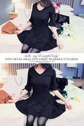 1区韩国代购正品验证marlangrouge-MZOP00761815-淑女风V领压褶气球袖连衣裙