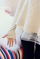 1区韩国代购正品验证marlangrouge-MZKN00766107-甜美绸纱拼接康康针织衫