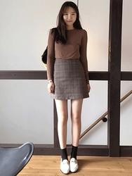 2018新款韩国服装maybe-baby品牌格纹时尚气质流行短裙(2018.1月)