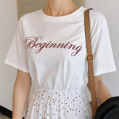 1区韩国本土服装代购(韩国圆通直发)merongshop-新款字母纯色T恤(2018-04-16上架)