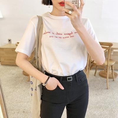 1区韩国本土服装代购(韩国圆通直发)merongshop-休闲字母新款T恤(2018-04-16上架)