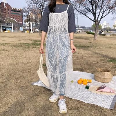 1区韩国本土服装代购(韩国圆通直发)merongshop-吊带蕾丝性感连衣裙(2018-04-20上架)