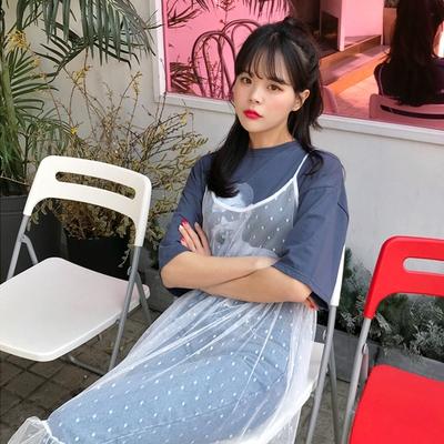 1区韩国本土服装代购(韩国圆通直发)merongshop-圆点新款吊带连衣裙(2018-04-20上架)