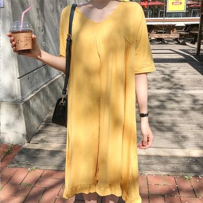 1区韩国本土服装代购(韩国圆通直发)merongshop-宽松休闲V领连衣裙(2018-04-20上架)