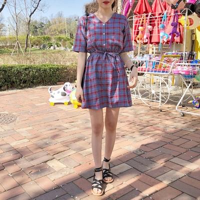 1区韩国本土服装代购(韩国圆通直发)merongshop-V领格纹系带连衣裙(2018-04-20上架)