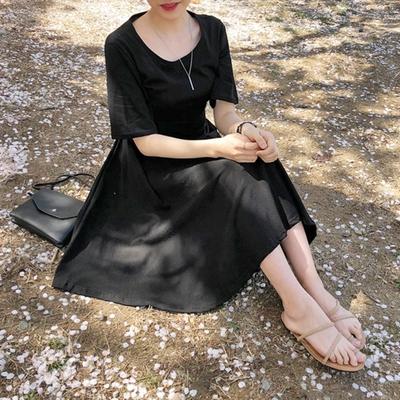 1区韩国本土服装代购(韩国圆通直发)merongshop-时尚简约纯色连衣裙(2018-04-20上架)