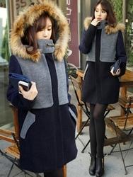 1区韩国代购正品验证mimididi-DICT00831283-高档休闲拼接连帽大衣