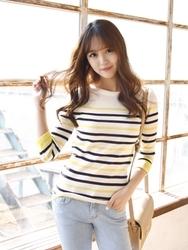 1区韩国代购正品验证mimididi-DIKN00849513-精致韩风条纹舒适针织衫