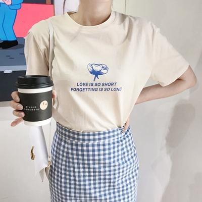 1区韩国本土服装代购(韩国圆通直发)mimididi-圆领字母T恤(2018-04-20上架)