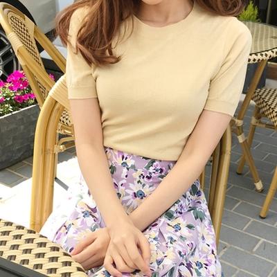 1区韩国本土服装代购(韩国圆通直发)mimididi-韩版时尚短袖针织衫(2018-04-24上架)