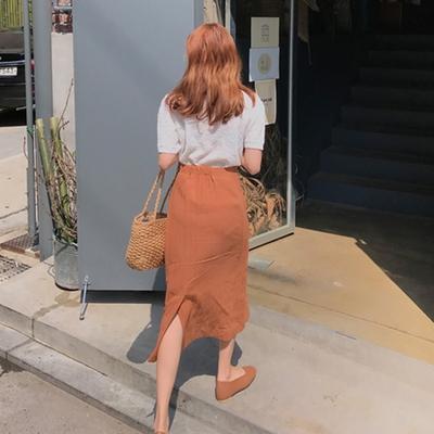 1区韩国本土服装代购(韩国圆通直发)mimididi-韩版时尚开叉长裙(2018-04-25上架)