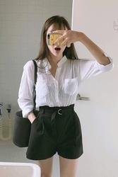 mocobling-韩国复古系带宽松纯色韩国代购短裤女装2017年07月28日夏季款