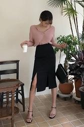 mocobling-韩国简约纯色开叉韩国代购长裙女装2017年07月31日夏季款