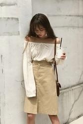 mocobling-韩国简约夏季纯色韩国代购中裙女装2017年07月31日夏季款
