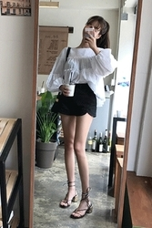 mocobling-韩国简约纯色百搭韩国代购短裤女装2017年08月02日08月款