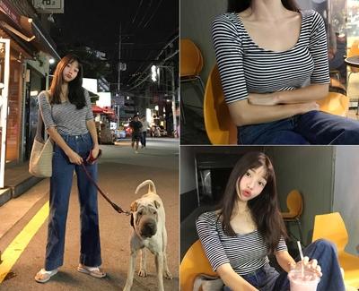 mocobling-修身条纹五分袖T恤