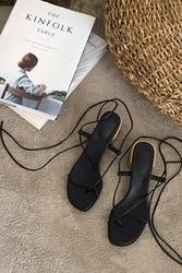 mocobling-韩国黑色绑带舒适平底鞋女装2017年08月02日08月款