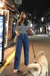 mocobling-韩国复古宽松高腰韩国代购牛仔裤女装2017年08月02日08月款