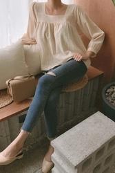 mocobling-韩国时尚修身破洞韩国代购牛仔裤女装2017年08月09日08月款
