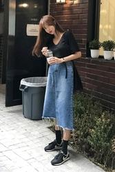 mocobling-韩国时尚宽松牛仔韩国代购长裙女装2017年08月09日08月款
