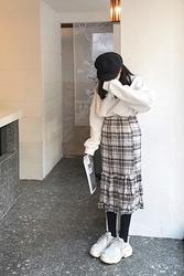 2018新款韩国服装mocobling品牌韩版魅力格纹流行长裙(2018.1月)
