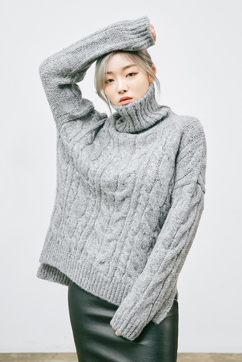 mossbean-韩国时尚麻花纹高领韩国代购毛衣针织衫