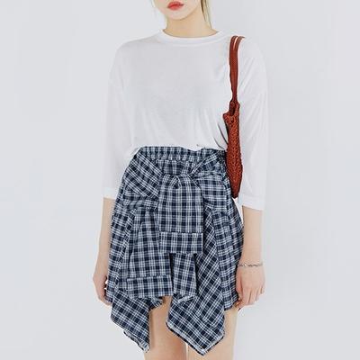 MOSSBEAN-个性系带条纹短裙